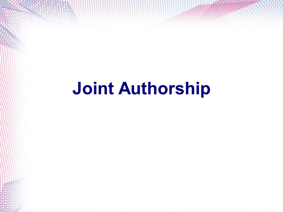 Joint Authorship