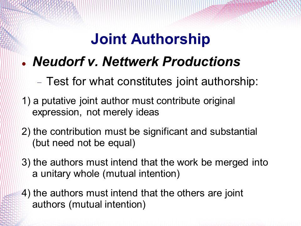 Joint Authorship Neudorf v. Nettwerk Productions