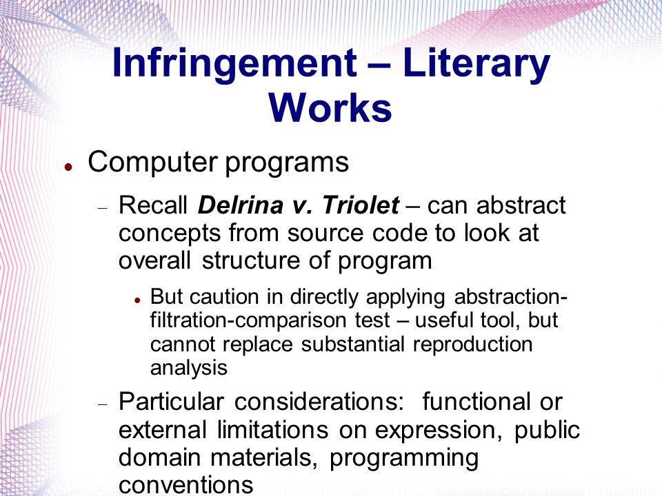 Infringement – Literary Works