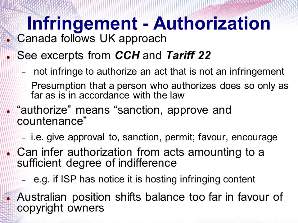 Infringement - Authorization