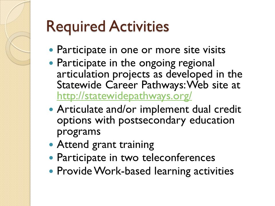 Required Activities Participate in one or more site visits