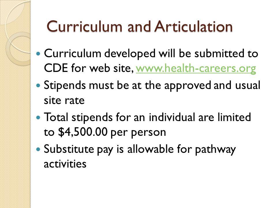 Curriculum and Articulation