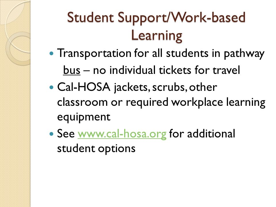 Student Support/Work-based Learning