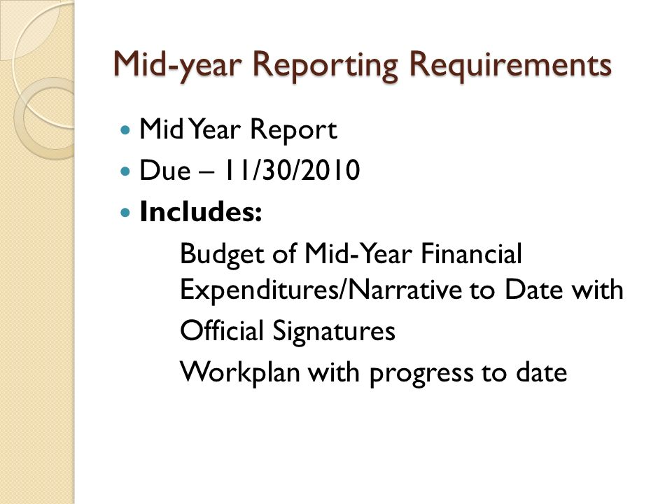 Mid-year Reporting Requirements