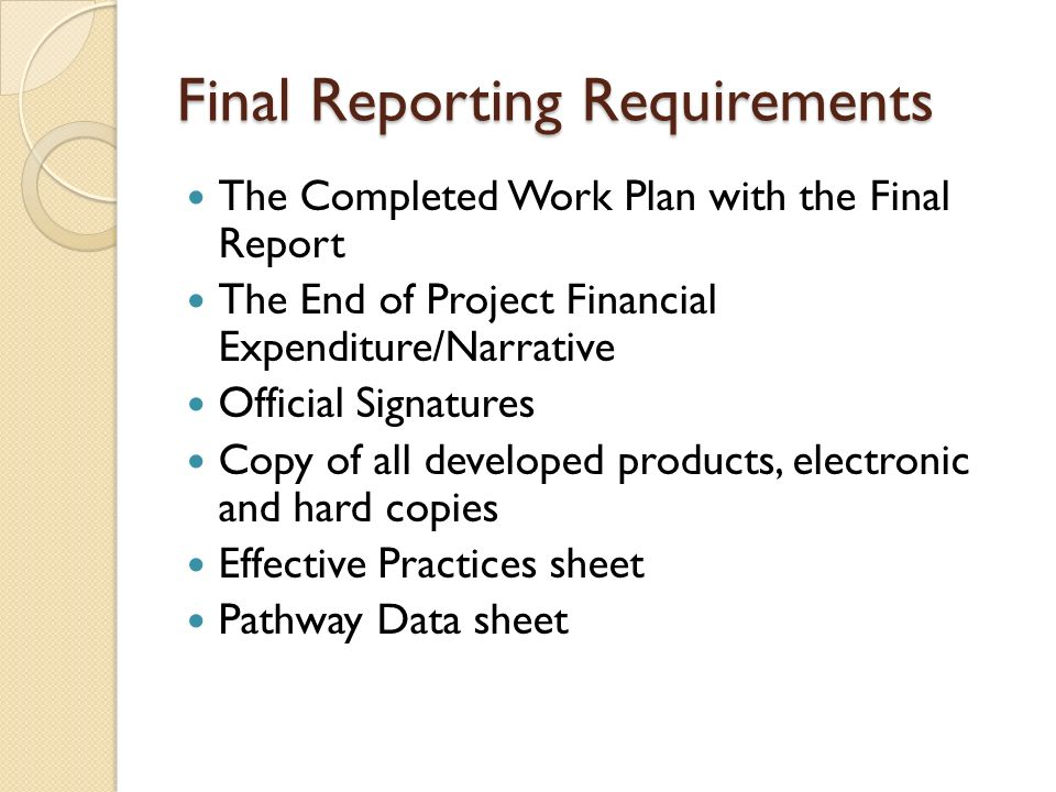 Final Reporting Requirements