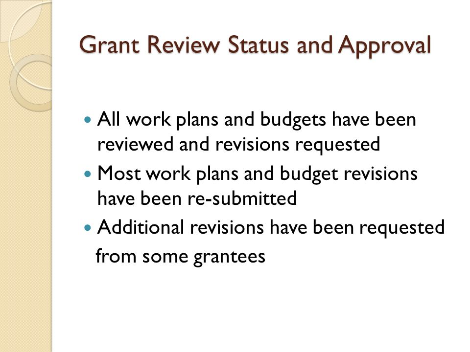 Grant Review Status and Approval