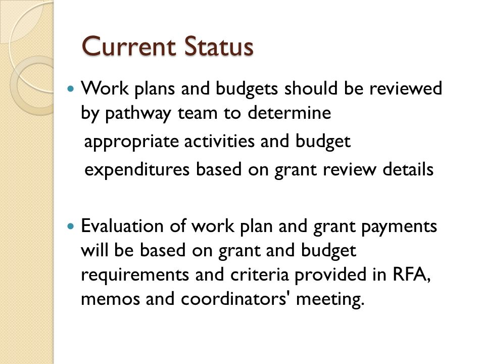 Current Status Work plans and budgets should be reviewed by pathway team to determine. appropriate activities and budget.
