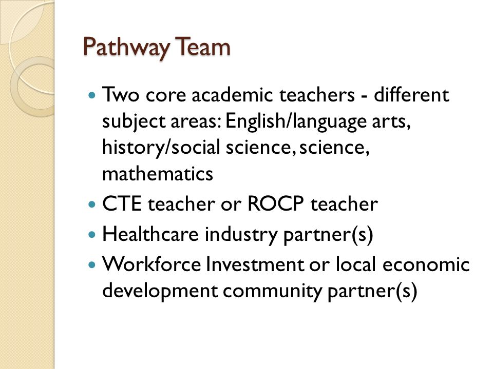 Pathway Team Two core academic teachers - different subject areas: English/language arts, history/social science, science, mathematics.