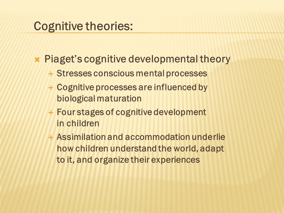 Cognitive theories: Piaget's cognitive developmental theory