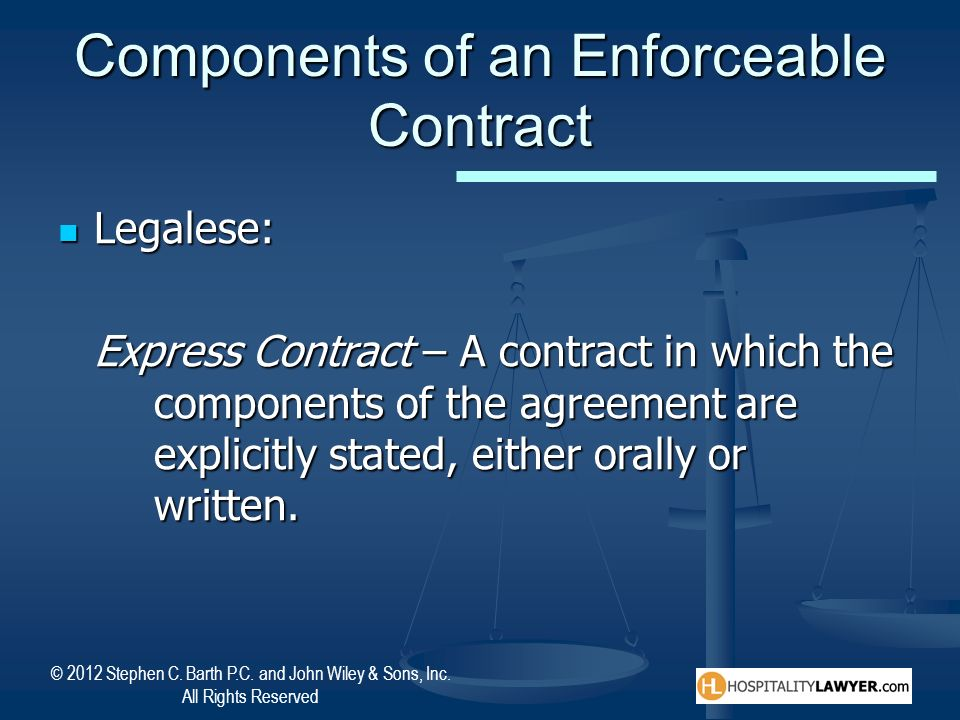 Components of an Enforceable Contract