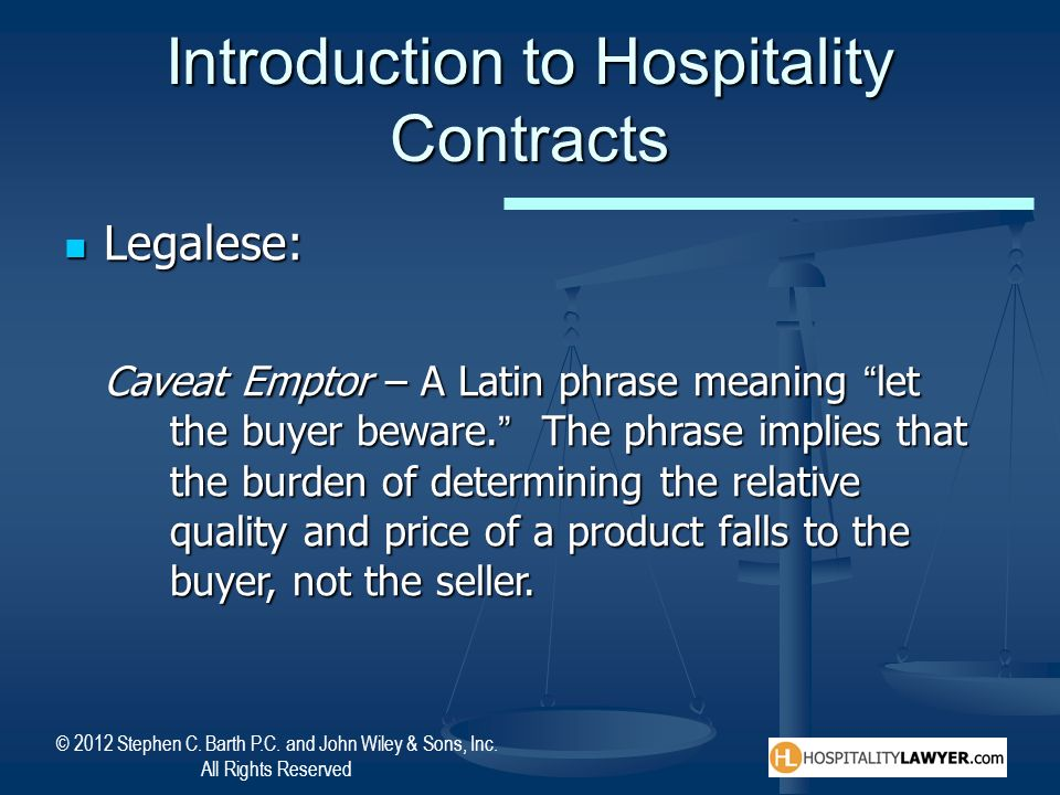 Introduction to Hospitality Contracts