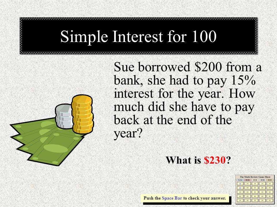 Simple Interest for 100