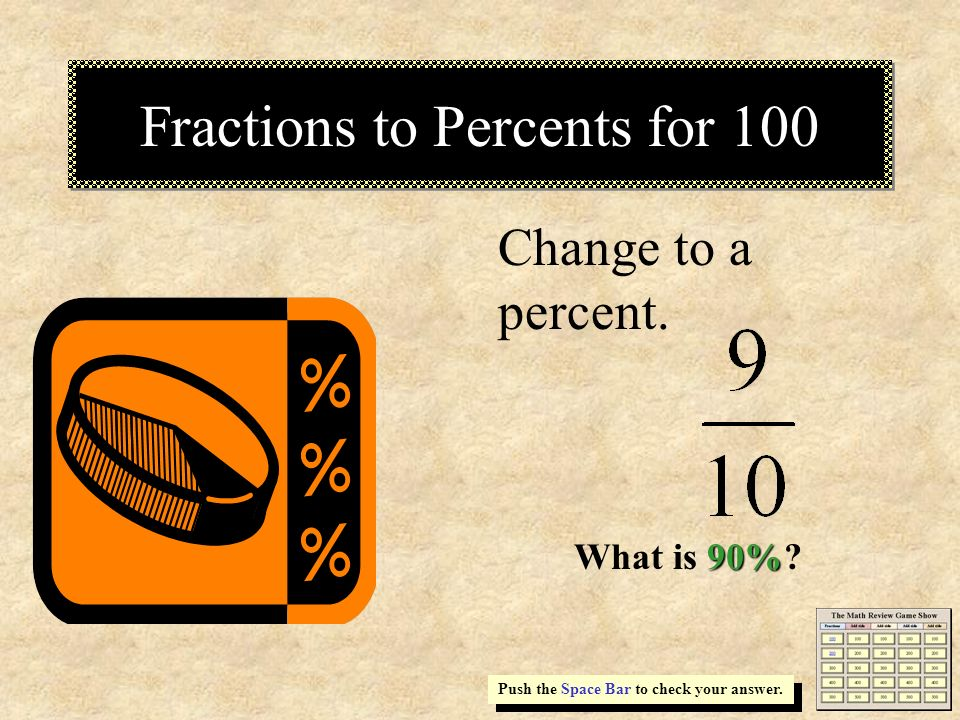 Fractions to Percents for 100