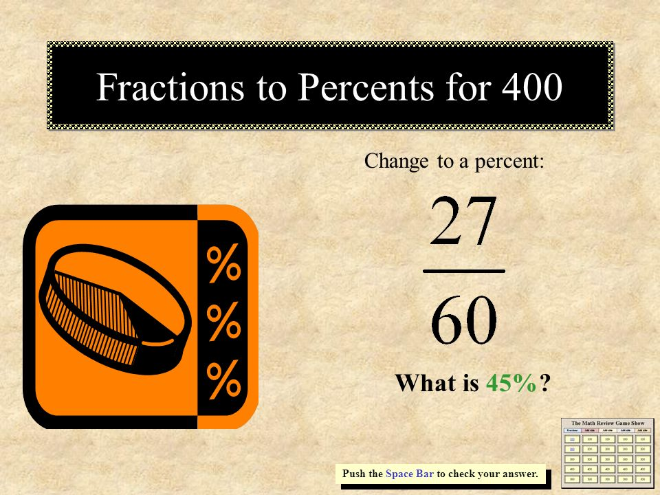 Fractions to Percents for 400