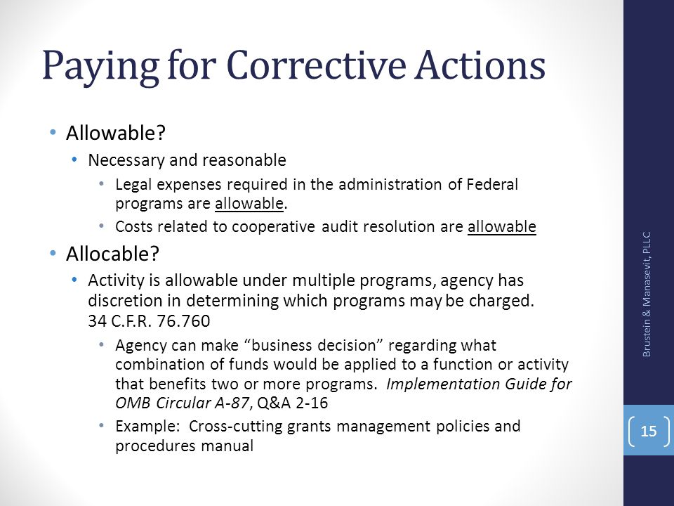 Paying for Corrective Actions