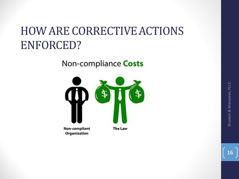 How are corrective actions enforced
