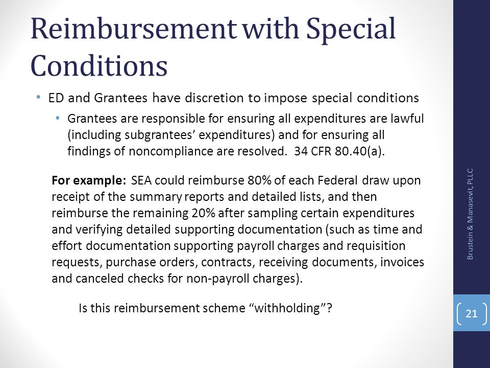 Reimbursement with Special Conditions