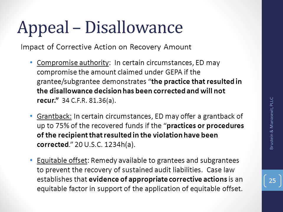 Appeal – Disallowance Impact of Corrective Action on Recovery Amount
