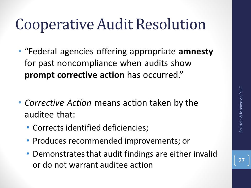 Cooperative Audit Resolution