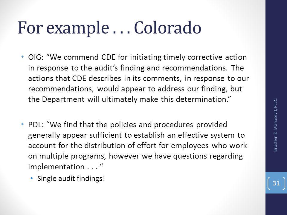 For example . . . Colorado