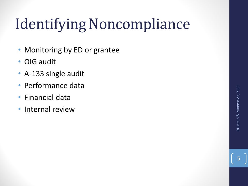Identifying Noncompliance