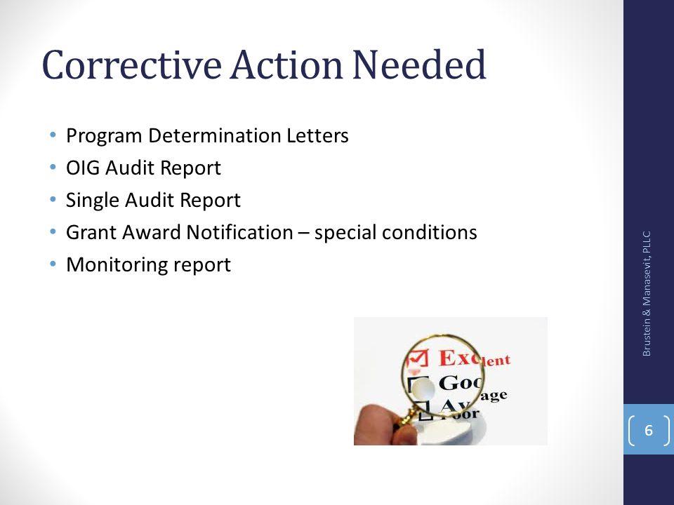 Corrective Action Needed