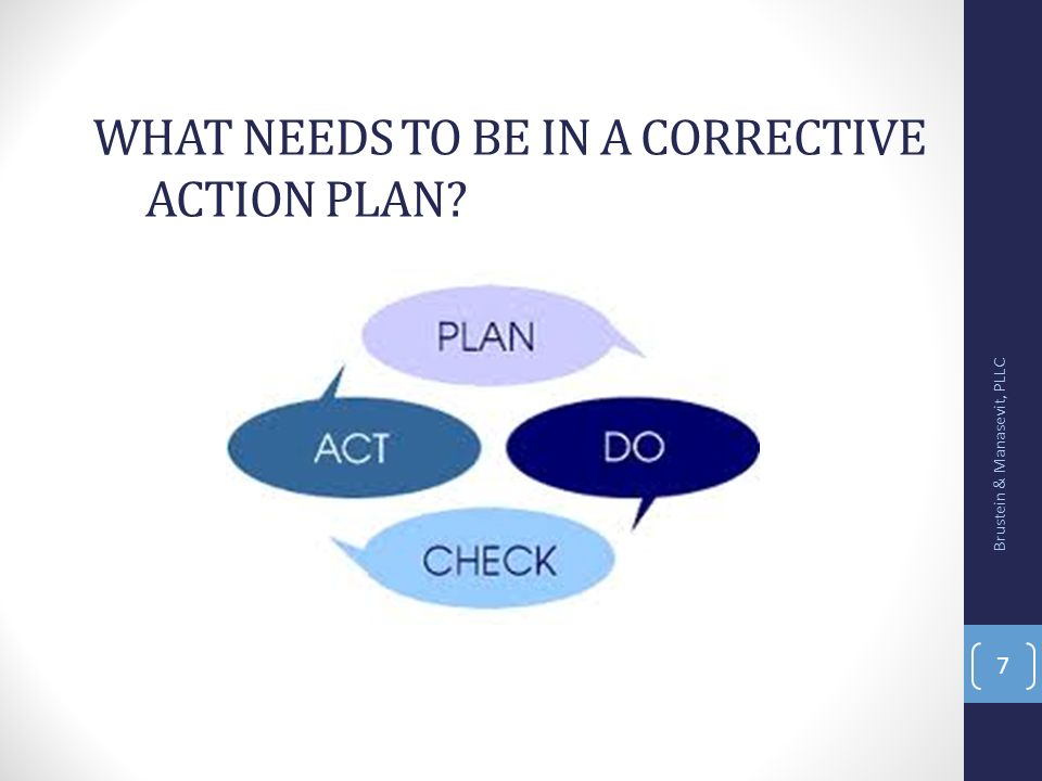 What needs to be in a corrective action plan
