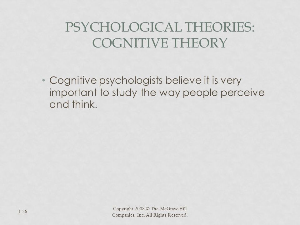 Psychological Theories: Cognitive Theory