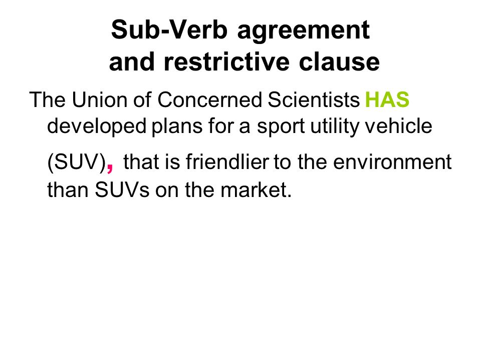 Sub-Verb agreement and restrictive clause