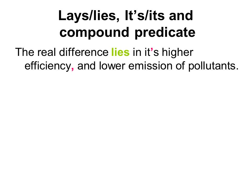 Lays/lies, It's/its and compound predicate