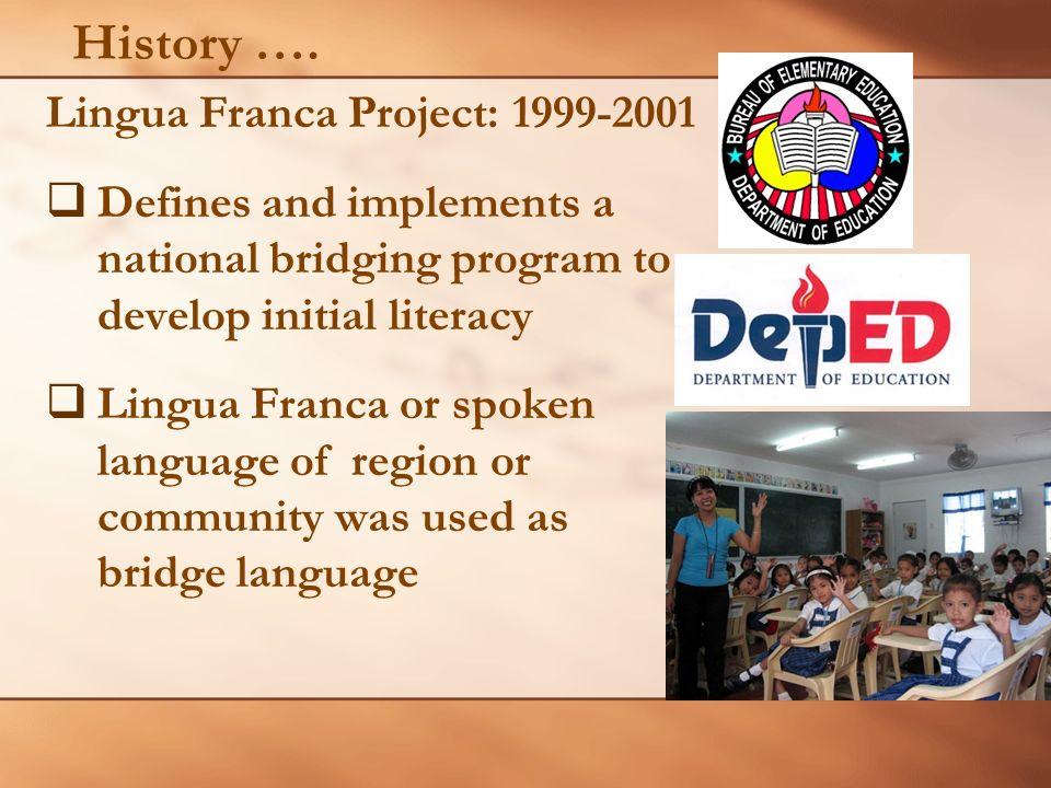 History …. Lingua Franca Project: 1999-2001