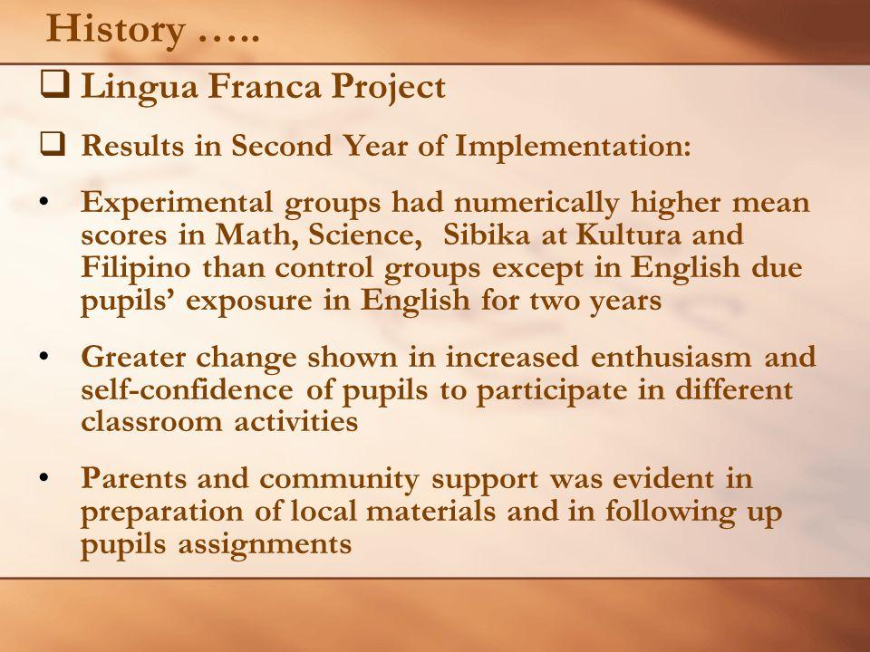 History ….. Lingua Franca Project