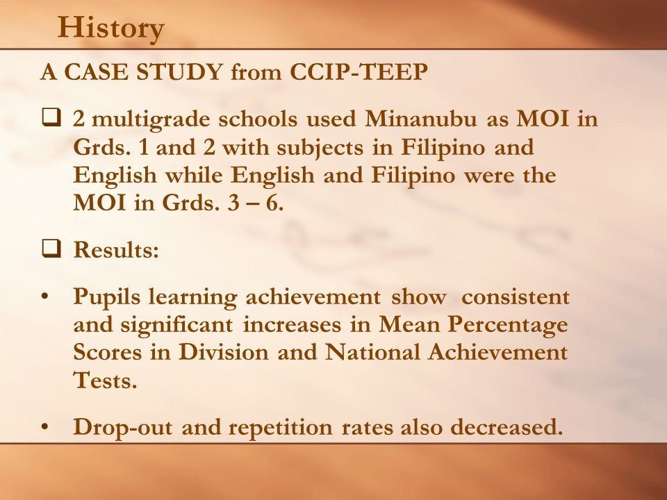 History A CASE STUDY from CCIP-TEEP