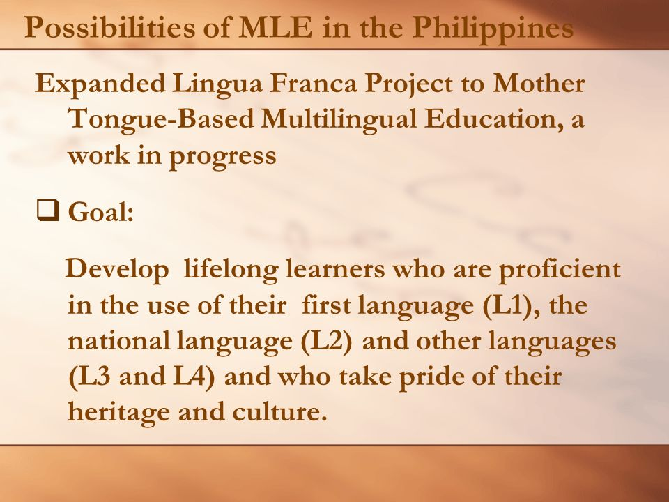 "the importance of mother tongue based schooling for educational quality ""the importance of mother tongue-based schooling for educational quality"" commissioned study for efa global monitoring report 2005 carol benson, ph d centre for research on bilingualism stockholm university 14 april 2004 part a: overview while there are many factors involved in delivering quality basic education, language is clearly the."