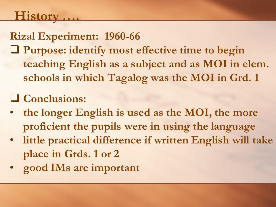 History …. Rizal Experiment: 1960-66