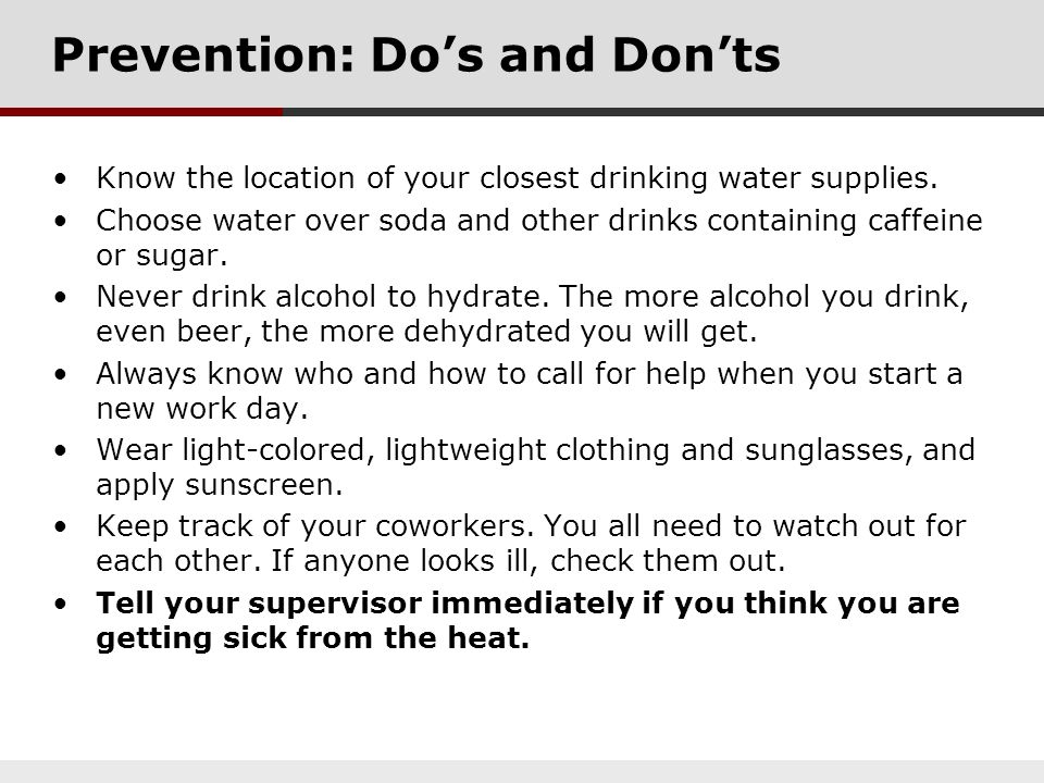 Prevention: Do's and Don'ts