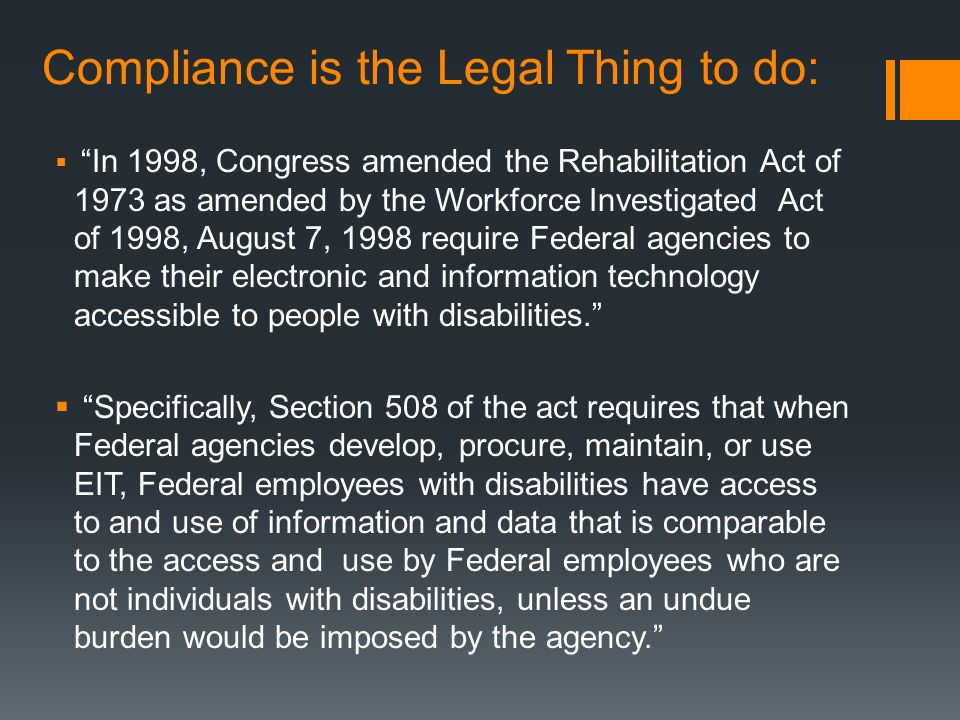 Compliance is the Legal Thing to do:
