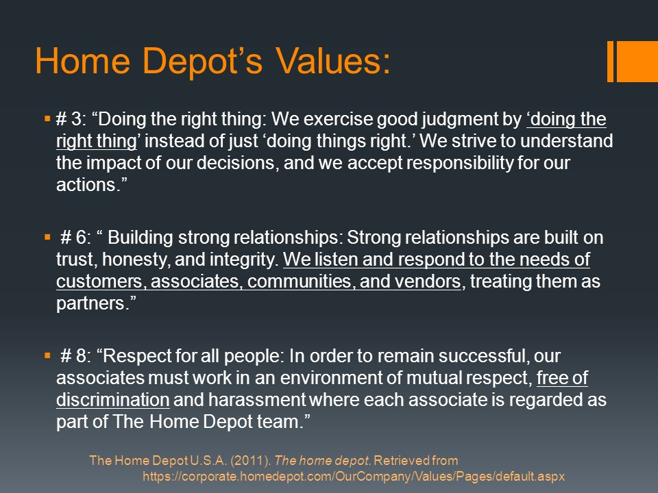 Home Depot's Values: