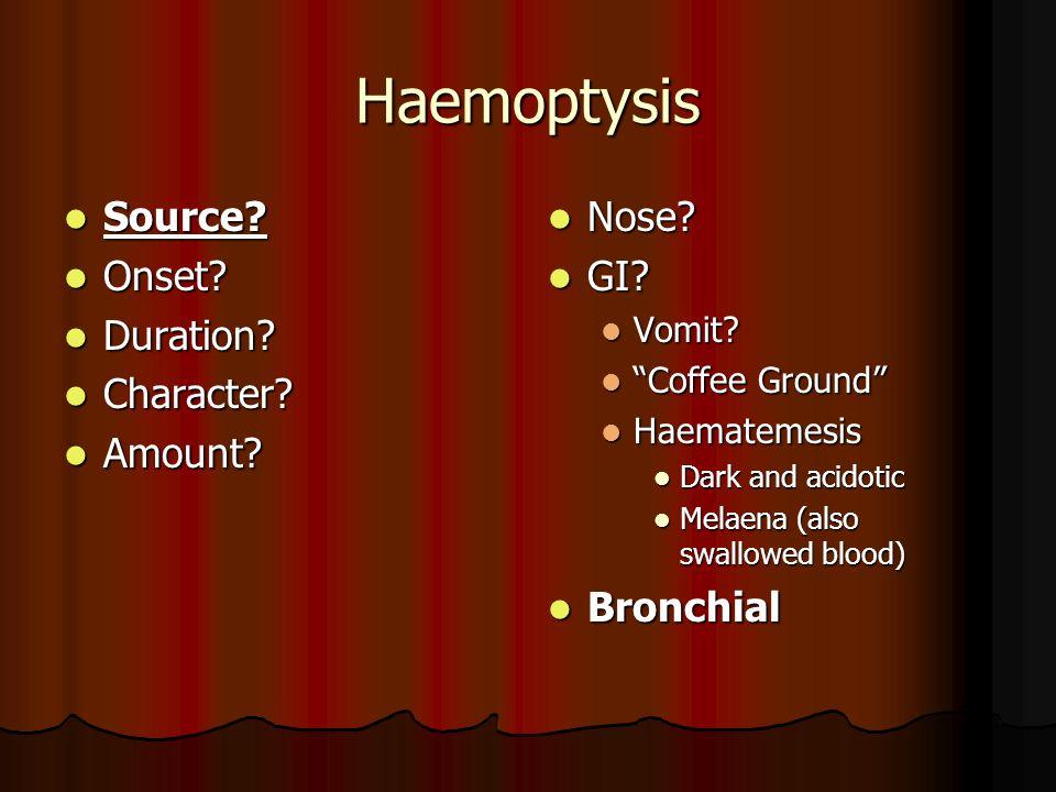 Haemoptysis Source Onset Duration Character Amount Nose GI