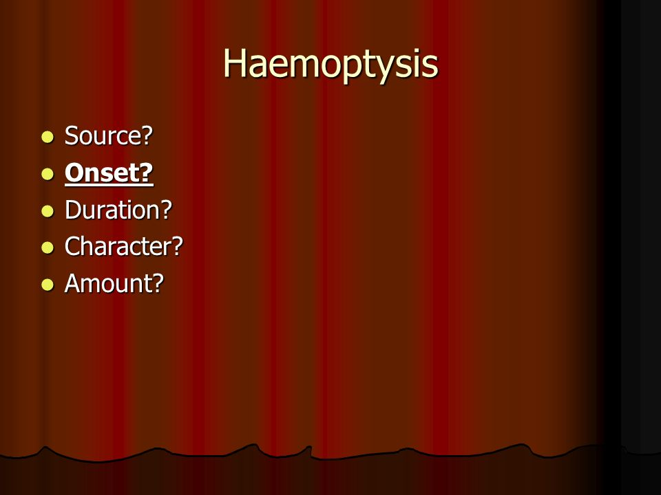 Haemoptysis Source Onset Duration Character Amount