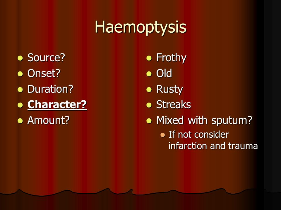 Haemoptysis Source Onset Duration Character Amount Frothy Old