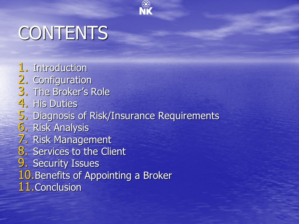 CONTENTS Introduction Configuration The Broker's Role His Duties