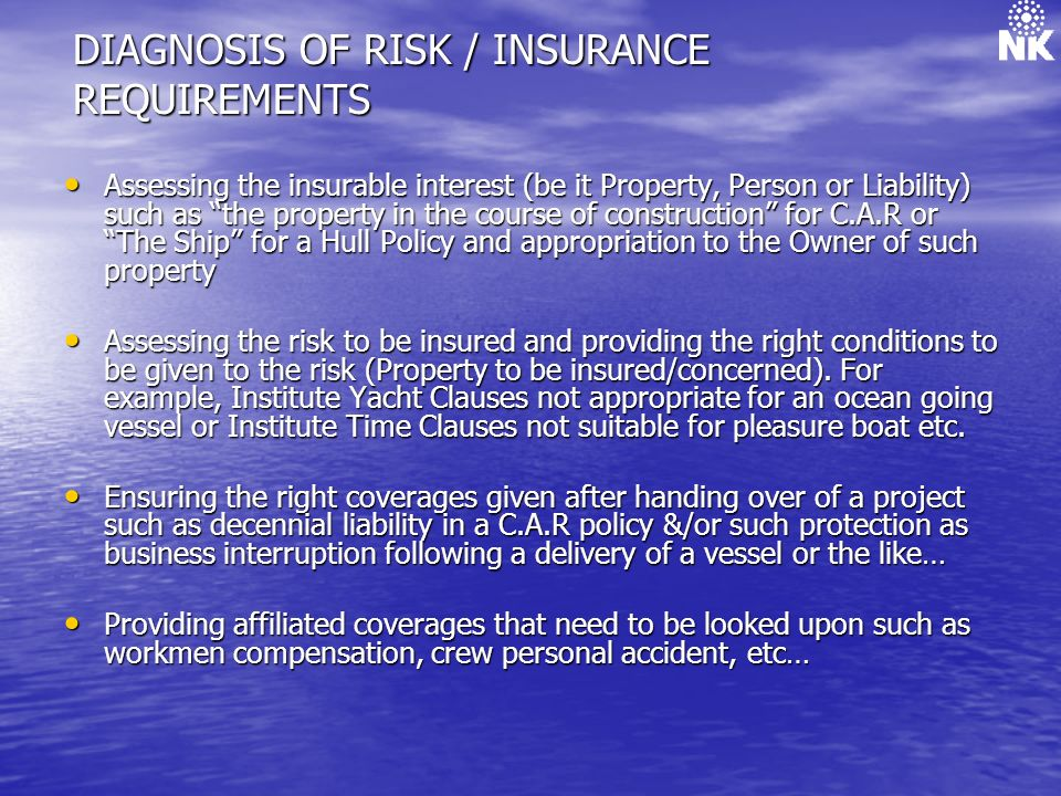 DIAGNOSIS OF RISK / INSURANCE REQUIREMENTS