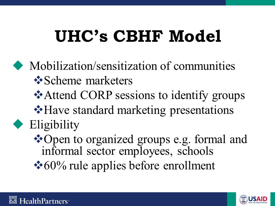 UHC's CBHF Model Mobilization/sensitization of communities
