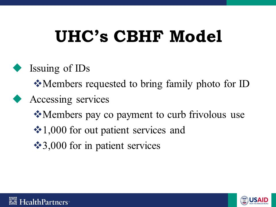 UHC's CBHF Model Issuing of IDs