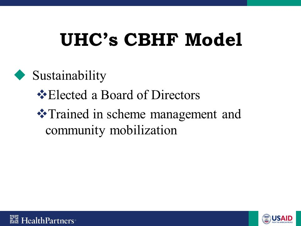 UHC's CBHF Model Sustainability Elected a Board of Directors
