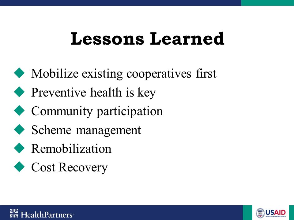 Lessons Learned Mobilize existing cooperatives first