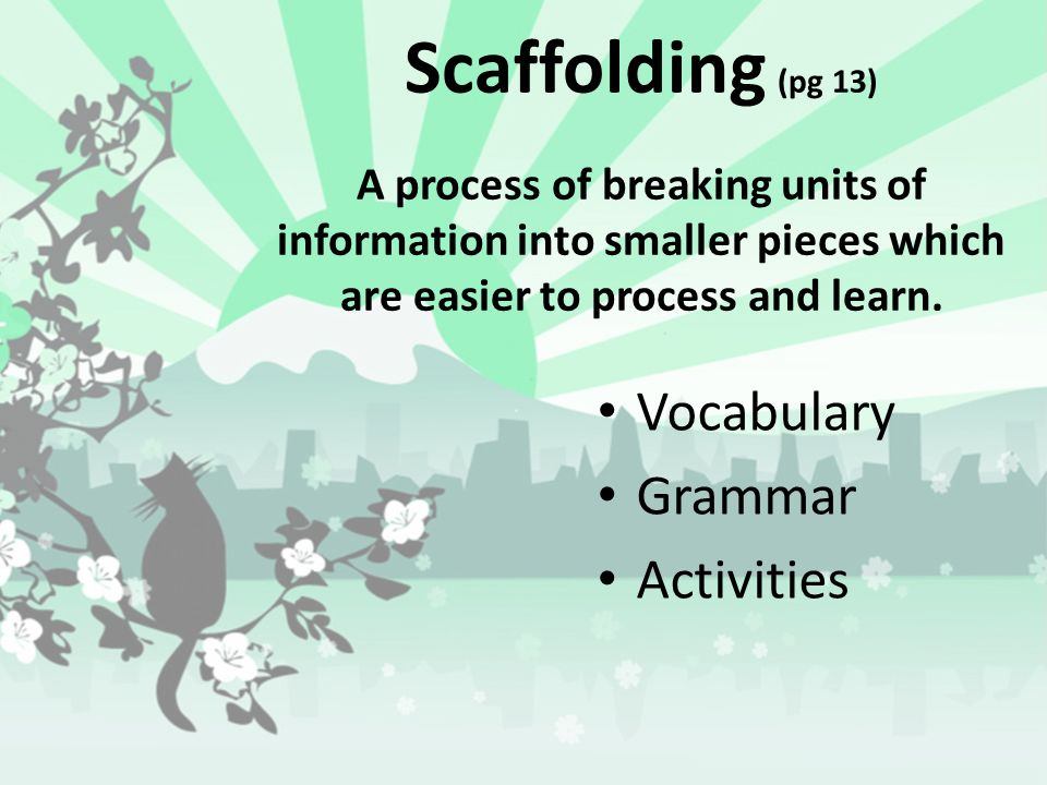 Scaffolding (pg 13) A process of breaking units of information into smaller pieces which are easier to process and learn.