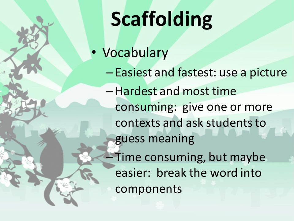 Scaffolding Vocabulary Easiest and fastest: use a picture