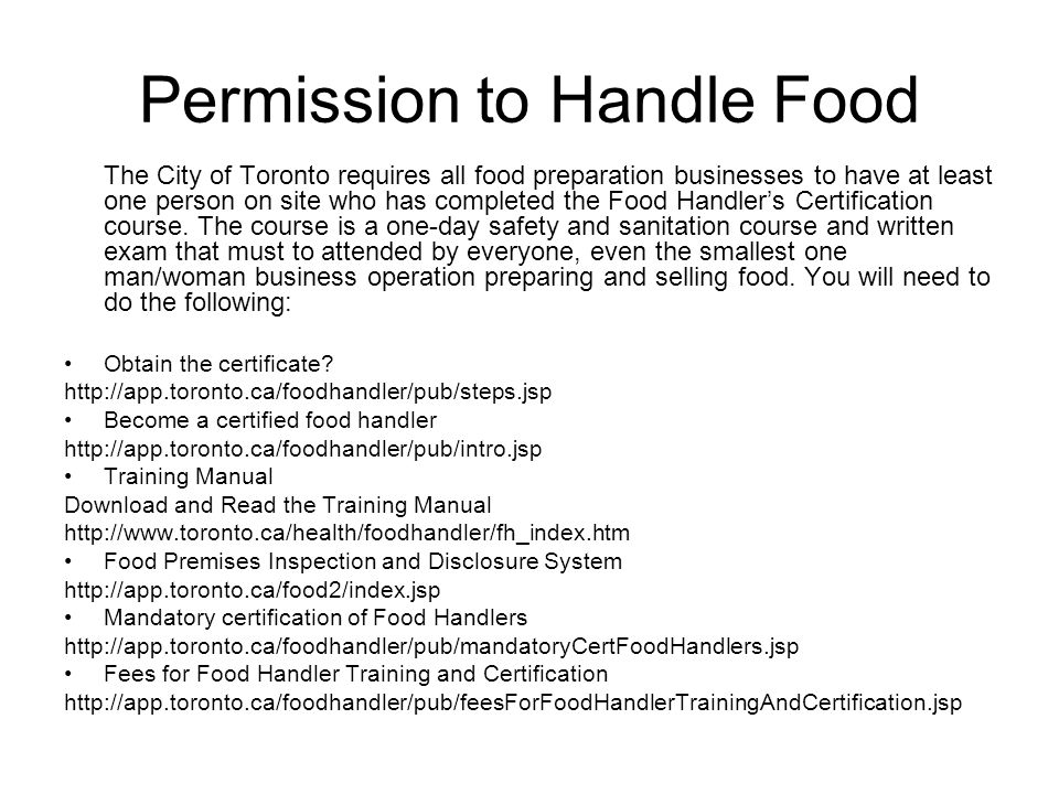 Permission to Handle Food